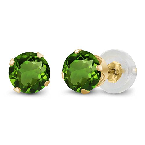 Gem Stone King 1.00 Ct Round Green Chrome Diopside 14K Yellow Gold 4-prong Stud Earrings 5mm