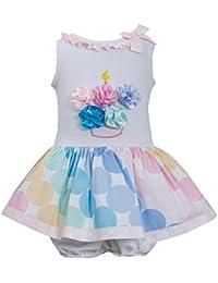 Baby Girls Infant 12M-24M Pink Multicolor Bias Dot Print Birthday Cupcake Dress