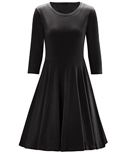 Buy black 3 4 sleeve shirt dress - 1
