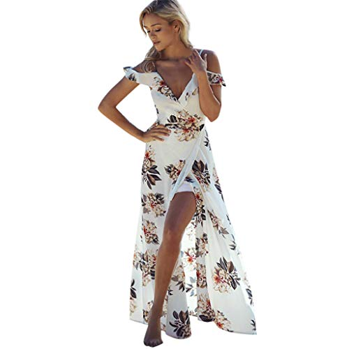 (Party Dresses For Women Summer Beach Printed Open-Forked V-Necktie Dresses)