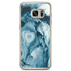 Samsung Galaxy S7 Transparent Edge Phone Case Dark Marble Blue Phone Case Marble Samsung S7 Cover with Transparent Frame