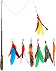 "Pawaboo Feather Teaser Cat Toy, 7PCS Interactive Retractable Interchangeable Feather Wand Flying Feather Cat Catcher with Extra Long 38.6"" Wand and Small Bells, Fun Cat Playing Toy, Colorful Stripes"
