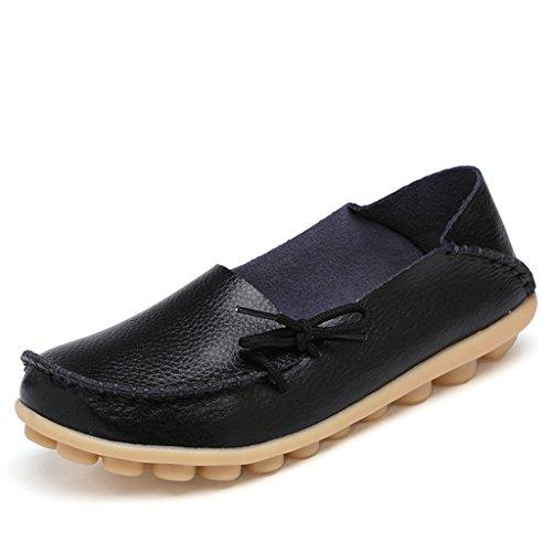 Lovelive99 Dames Koeienhuid Leren Veterschoen Instapschoenen Loafers Bootschoenen Zwart