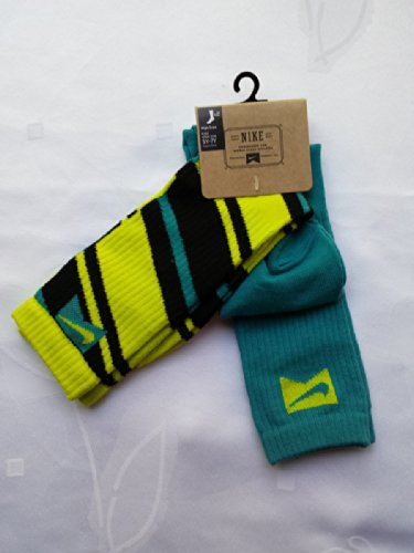 Nike 2 Pairs/Pack High Crew Socks, Youth, Neon Lime/Black...