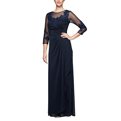 Alex Evenings Women's Long A-Line Sweetheart Neck Dress (Petite and Regular Sizes), Navy, 6P