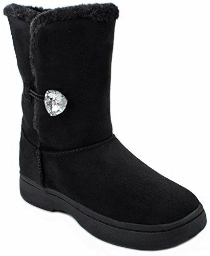 Kvinnor Bambu Tahoe14 Fuskpäls Fodrade Diamant Knapp Shearling Vinter Snö Boots Svart