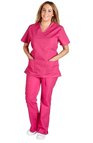 M&M SCRUBS Women Mock Wrap/Flare Pant Set Medical Scrub Set XXL Hot - Mock Tie Back Wrap