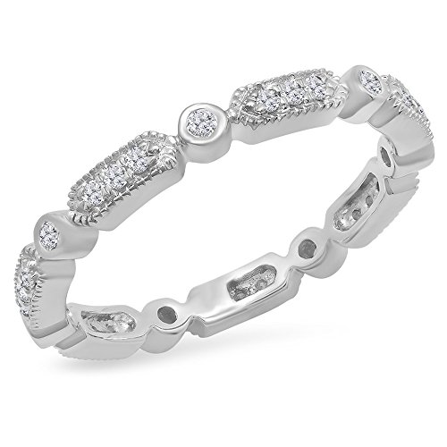 0.30 Carat (ctw) 14K White Gold Round White Diamond Vintage Style Wedding Eternity Stackable Band 1/3 CT by DazzlingRock Collection