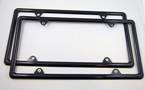 Car Chrome Decals Slimline Thin Black Plastic Durable Flexible License Plate Frame Set of 2 Frames