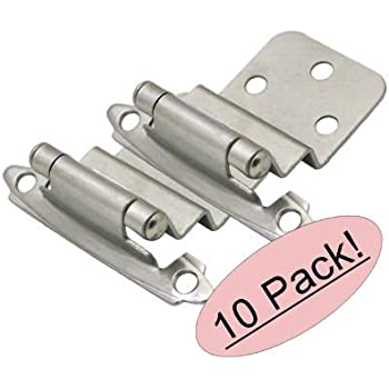 """Cosmas 17128-SN Satin Nickel Cabinet Hinge 3/8"""" Inset [17128-SN], 10 Pair Pack"""