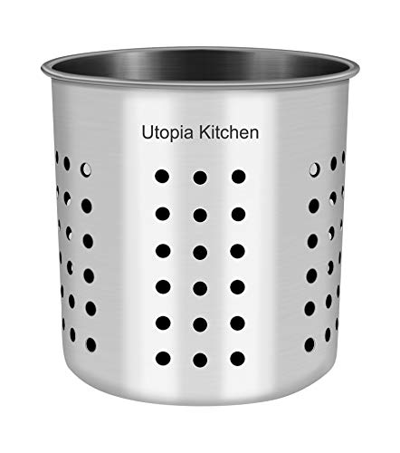 Utopia Kitchen Utensil Holder - Utensil Container 5 x 5.3 - Utensil Crock - Flatware Caddy - Brushed Stainless Steel Cookware Cutlery Utensil Holder