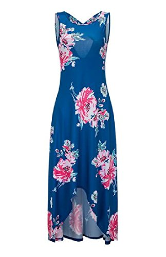 Racerback O neck Coolred Printed Maxi Women's Blue Vest Floral Sundress 5Zq5Inw4R