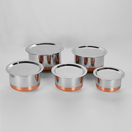 Sumeet Stainless Steel Copper Bottom Cookware/Container / Tope,Set Of 5 PcsWith Lids