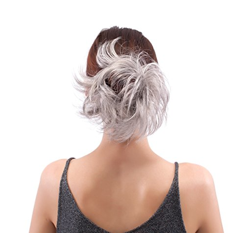 MERRYLIGHT Synthetic Hair Extensions Ponytail Scrunchie Hairpiece0940 (Grey White-M3/60)