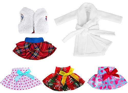 ebuddy 6pc Santa Couture Clothing Christmas Accessory Set for Elf Doll Include Dress, Fluffy Vest, Skirt, Nightgown (Doll Not Include)