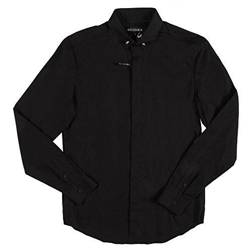 Religion Men's Clothing Religion Long Sleeved Skull Shirt Medium Jet Black Jet Black (Sleeved Long Skull)