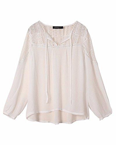 StyleDome Mujer Camiseta Blusa Mangas Largas Casual Elegante Encaje Croché Algodón Cuello Pico Blanco
