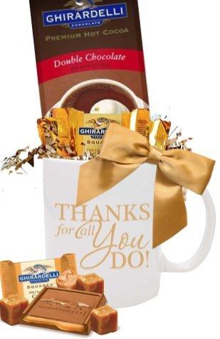 Thanks You Cocoa & Chocolate Gift Mug/Holiday Cocoa Mug/Cocoa & Chocolate Mug/Ghirardelli Cocoa & Chocolate Squares/Corporate Thank You Gifts/Holiday Gift Mug/Business Mugs/Ghirardelli Cocoa Mugs