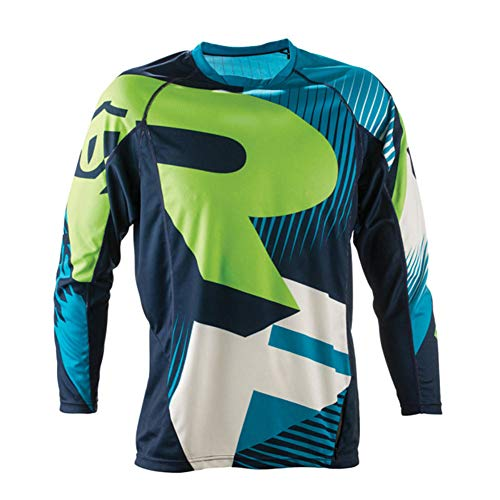 (haixclvyE Unisex Bike Cycling Jersey Long Sleeve T-Shirt Motorcycle Motocross T-Shirt Long Sleeve MTB Cycling Clothing Blue L)