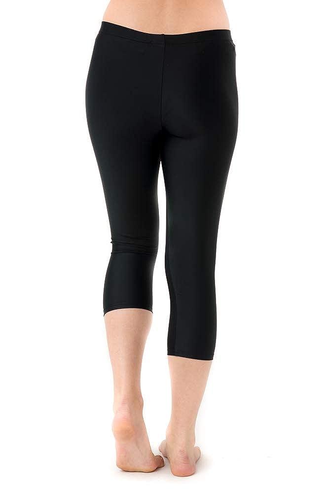 11b29a0b78d9 Amazon.com: Women's Swim Leggings Athletic Capris- UV Protection Cover Up  Swim Tights- Plus Size Too: Clothing