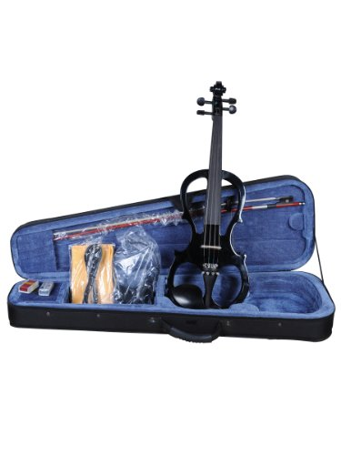 ADM EL16-BLACK 4/4 Full Size Silent Electric Violin Outfit, Black Color by ADM