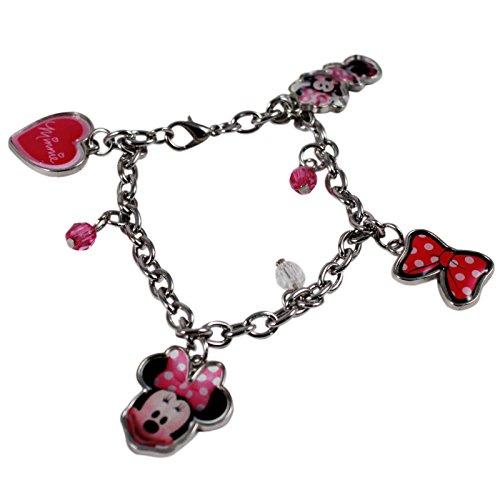 Disney Minnie Mouse Charm - Disney Minnie Mouse Charm Bracelet Girls Dress Up 4pc Jewelry