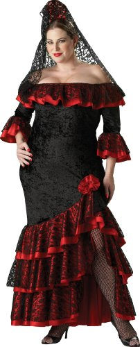 InCharacter Costumes Women's Plus Size Senorita Costume, Black/Red, XXX-Large - Flamenco Dancer Costume Man