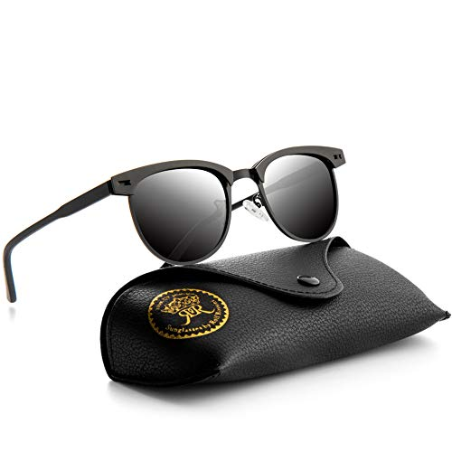 Semi Rimless Polarized Sunglasses for Mens Classic Metal Retro Rivets Women Sun Glasses with Case (Black/Grey) ()