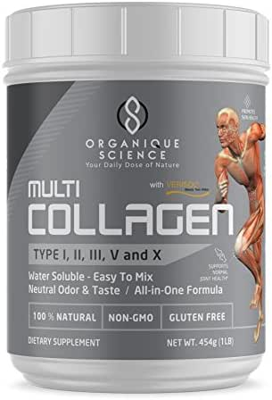 Multi-Collagen Protein Powder with Verisol and TendoGuard - Grass-Fed Beef, Chicken, Wild Fish and Eggshell Collagen Peptides - USDA Organic, Soy & Gluten Free, - Collagen Type I, II, III, V and X