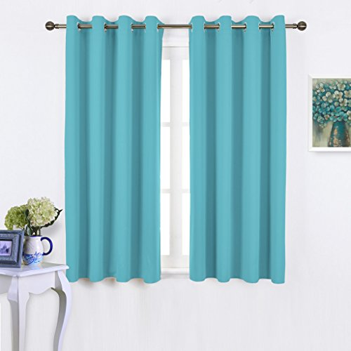 NICETOWN Blackout Curtains Panels for Window - Thermal Insulated Solid Grommet Blackout Panels / Drapes for Bedroom (Set of 2 Panels, 52 by 45 Inch, Turquoise) - Panels Drapes Set