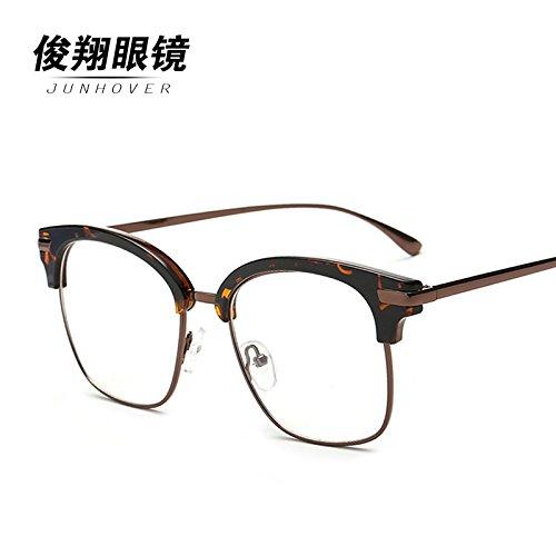 les lunettes section korean miroir plat star féminine semi - section mens ultra légères lunettes rondes tide la couleur du bois