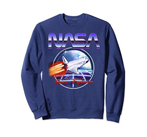 Unisex NASA Space Explorer 80s Neon Chrome Retro Vintage Sweatshirt Small Navy (Retro Jumper)
