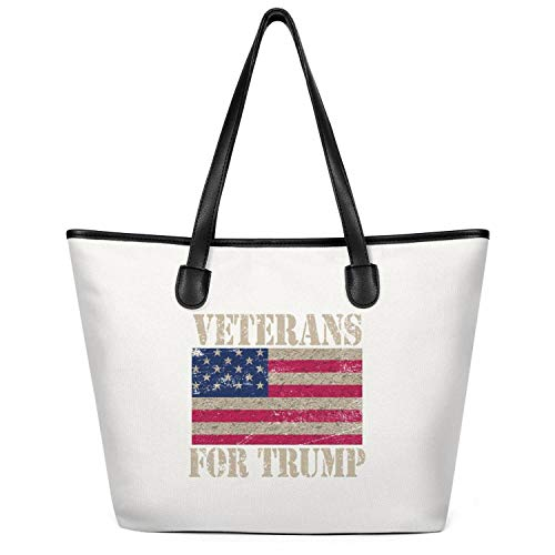 (Oversized Canvas Duck Tote Bag Veterans for Trump 2020 Retro Tote Body Handbag 35cm X 32cm 13.7x12.5in Casual Groceries Bag)