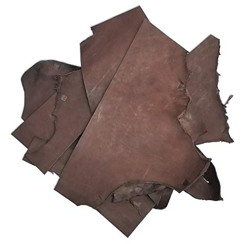 9 Ounce Top Grain - 5 Pounds of, Large, Usable Holster & Sheath Leather Scraps, Rich Havanna Brown Color, Molds and Tools Well, Great For Leather Crafting, Holster and Sheath Making, USA Hide
