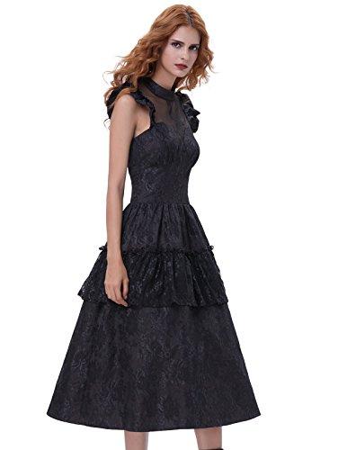 Belle Poque Vestido de fiesta Rockabilly Vestido de cóctel Vintage Vestido de fiesta Negro 380