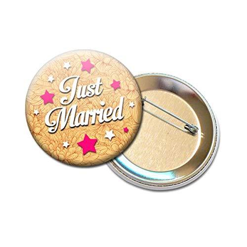 Badge Rond /à /Épingle 5,6 centim/ètres Just Married Id/ée Cadeau Accessoire Accessoire Mariage Evjf