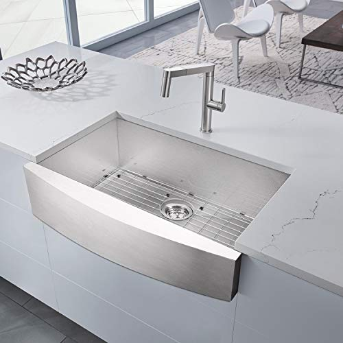BATH MASTER Apron Farmhouse Handmade Kitchen Sink 33-Inch 33 x 20 x 9 18 Gauge Stainless Steel Single Bowl Undermount Drop In Bar Sink with Drain Strainer Kit FS3320
