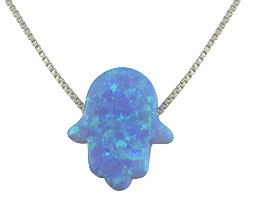 aJudaica Light Blue Opal Hamsa Hand Pendant Necklace with 17 Inch Sterling Silver - Hand Pendant Silver