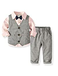 JinYin Toddler Boys Gentleman Formal Suit Set with Vest Pant Shirt and Bow Tie Occasion Wear, Kids Wedding Suit(0-7 Years)