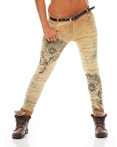10912 stampa Giallo Chinos Jeans Jeggings Pants Boyfriend Baggy Ladies Stretch Letter Zarmexx fantasy Pqw7F8nw