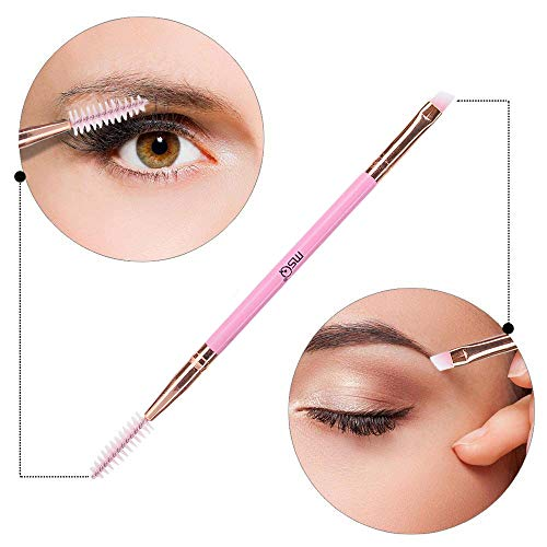 MSQ Duo Eyebrow Brush Perfect 2 In 1 Angled Eyebrow Brush with Spoolie Brush Makeup Brush Eyebrow Comb Eyelash Brush (Pink) (Pink Eyelash Comb)