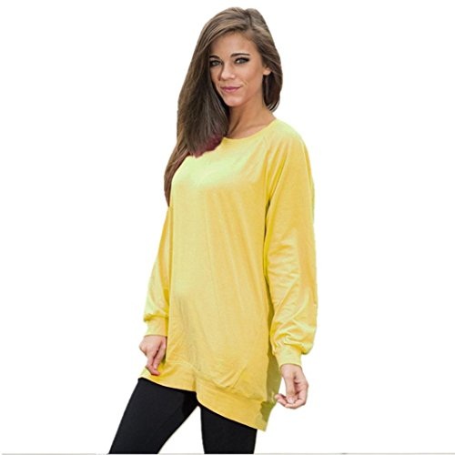 [XUANOU Women Large size Pure Color Long Sleeve Loose Pullover Blouse Shirt (Large, Yellow)] (Yellow Rain Jacket Costume)