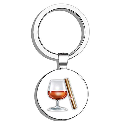 Glover Trading Cognac and Cigar Round Stainless Steel Metal Key Chain Keychain Ring Double Sided Deisgn