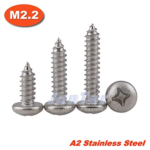 Screws 100pcs/lot M2.2(2.2mm) DIN7981 A2 Stainless Steel Phillips Cross Recessed Pan Head Self Tapping Screws - (Length: 6mm): Amazon.com: Industrial & Scientific