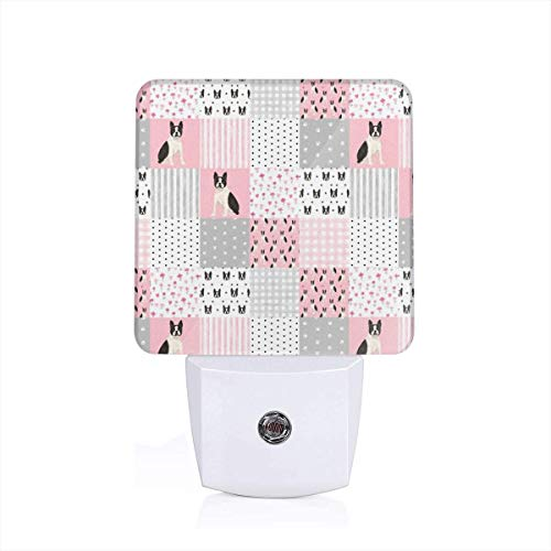 Boston Terrier Cheater Quilt Squares Wholecloth Nursery Dog Fabric_202Warm White LED Stick-On Night Light with Dusk to Dawn Sensor Energy Efficient Home Theatre of 2 Plug White
