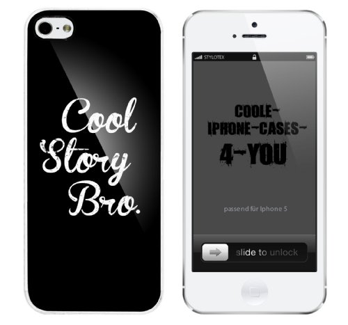 Iphone 5 Case Cool Story Bro. vintagestyle Rahmen weiss