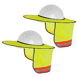 2 Pack Hard Hat Sun Shield,Full Brim Mes...