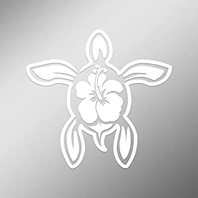 CMI DD497 Hibiscus Turtle Decal Sticker | 5.5-Inches by 5-Inches | Premium Quality White Vinyl: Automotive