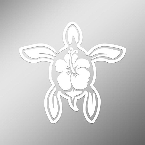 Hawaiian Turtle Decals - DD497 Hibiscus Turtle Decal Sticker | 5.5-Inches By 5-Inches | Premium Quality White Vinyl