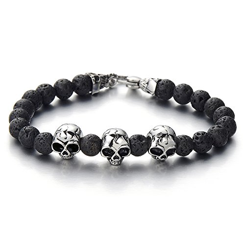 COOLSTEELANDBEYOND Gothic Style Mens Beads Bracelet with 8mm Black Volcano Volcanic Stone and Stainless Steel Skulls